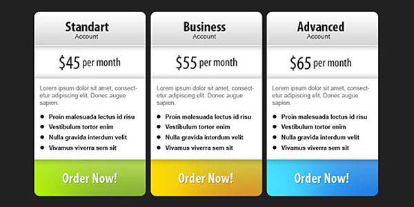 pricing table psd templates 04 37 Free Pricing Table PSD Templates