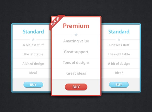 pricing table psd templates 07 37 Free Pricing Table PSD Templates