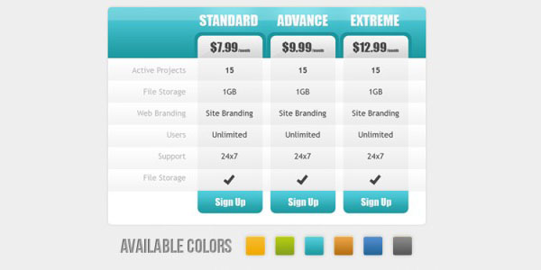 pricing table psd templates 10 37 Free Pricing Table PSD Templates
