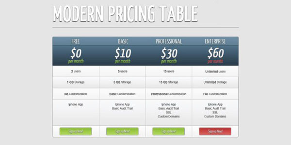 pricing table psd templates 11 37 Free Pricing Table PSD Templates