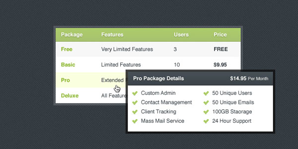 pricing table psd templates 18 37 Free Pricing Table PSD Templates