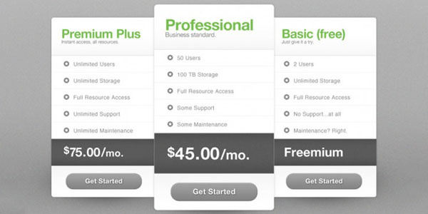 pricing table psd templates 19 37 Free Pricing Table PSD Templates