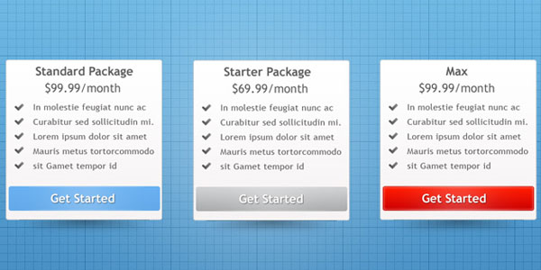 pricing table psd templates 20 37 Free Pricing Table PSD Templates