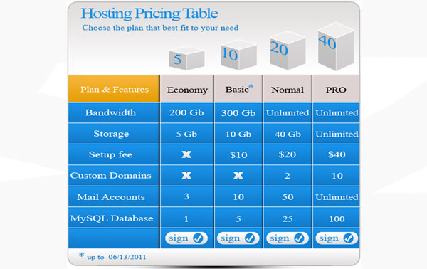 pricing table psd templates 23 37 Free Pricing Table PSD Templates