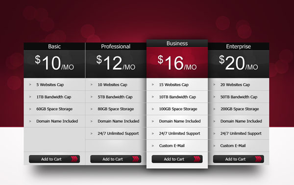 pricing table psd templates 28 37 Free Pricing Table PSD Templates