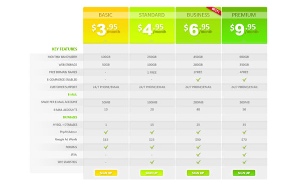 pricing table psd templates 29 37 Free Pricing Table PSD Templates