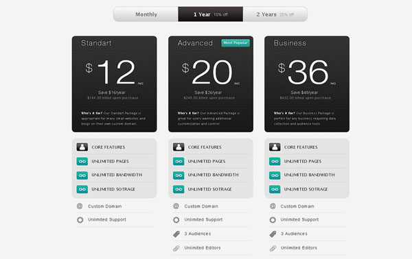 pricing table psd templates 35 37 Free Pricing Table PSD Templates