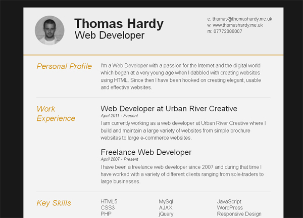 Resume Templates For Free 30 free beautiful resume templates to download hongkiat Free Responsive Htmlcss3 Cv Template