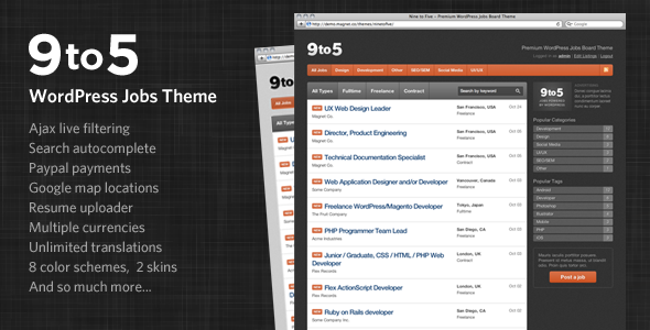 job board wordpress themes 04 6 Free and Premium Job Board WordPress Themes