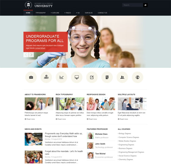 Ja University Is Template For Joomla 2 5 3 0 It An Education Themed Just Like Its Name That Every Insution Will Reciate