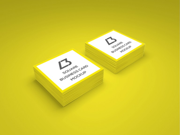 Square Business Card Mockup With Round Corner