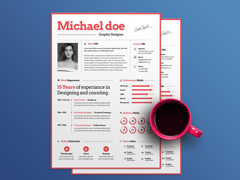 Free Simple Resume Template Made For Graphic Designer With PSD File Format.  Using This Resume Template You Can Quickly Tailor Make Your Resume For Any  ...