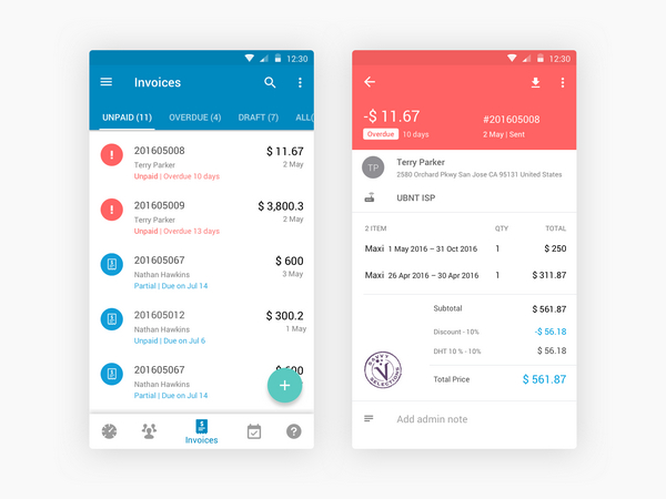 21 Invoice App Ui Designs For Inspiration Smashfreakz